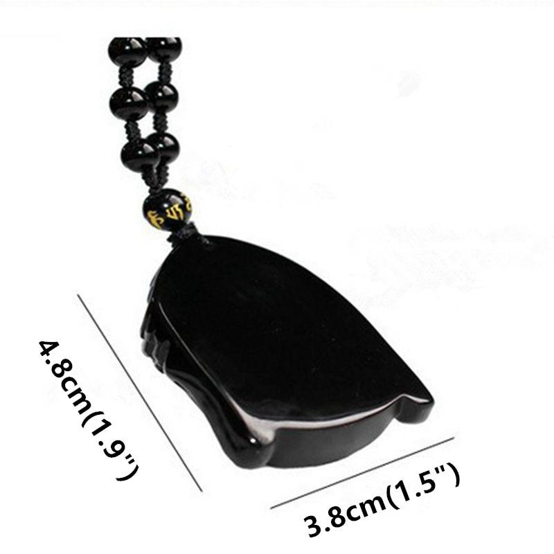 a5560d64ebfa5 Unisex Black Obsidian Carved Buddha Face Pendant Necklace